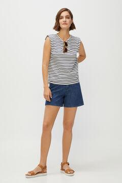 Cortefiel Shoulder pads T-shirt Blue