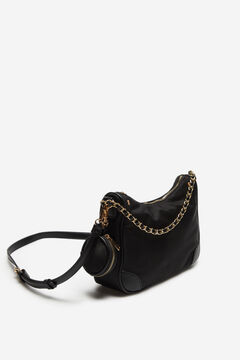 Cortefiel Nylon crossbody bag Black