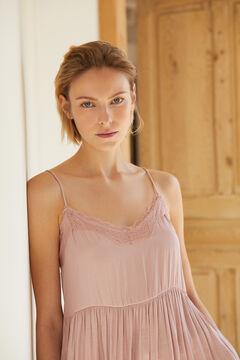 Cortefiel V-neck lingerie top Pink
