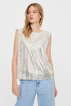 Cortefiel Sequinned top Stone