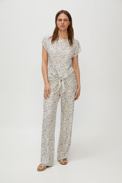 Cortefiel Trousers in jersey-knit fabric with a pleated effect Ecru