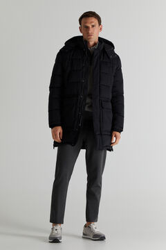 Cortefiel Long quilted parka Black