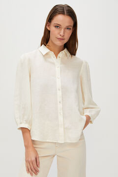 Cortefiel Long-sleeved linen shirt White