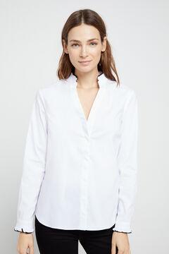 Cortefiel Flounced neck shirt White