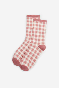 Cortefiel Knee length gingham socks Pink