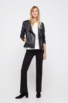 Cortefiel Combined jersey-knit leather jacket Black