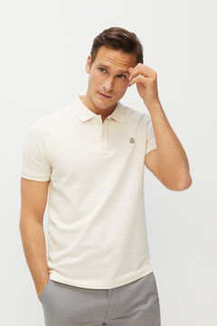 Cortefiel Essential slim fit short-sleeved polo shirt Ecru
