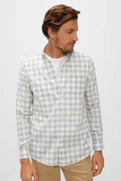 Cortefiel Gingham extra soft organic cotton shirt Blue