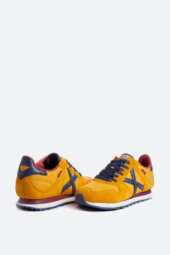 Cortefiel Munich unisex trainers in yellow with split leather and nylon Red