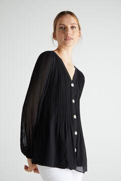 Cortefiel Camisa plisada confort Negro