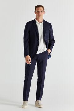 Cortefiel Navy blue slim fit trousers Navy