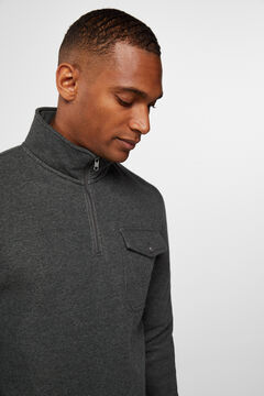 Cortefiel Cotton open roll-neck sweatshirt Gray