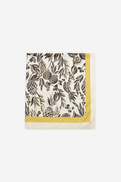 Cortefiel Silky scarf with fruit print Black