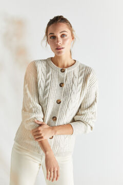 Cortefiel Soft cable knit cardigan Camel