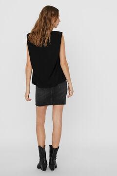 Cortefiel Camiseta hombreras Negro