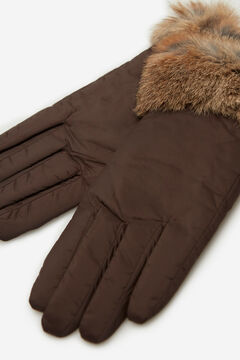 Cortefiel Nylon and genuine fur gloves Dark brown