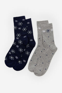 Cortefiel Long Christmas socks pack Natural