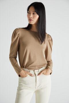 Cortefiel Puffed sleeve piqué T-shirt Beige