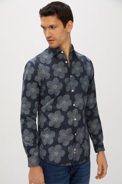 Cortefiel Printed organic cotton shirt Blue