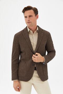 Cortefiel Houndstooth jersey-knit blazer Dark brown