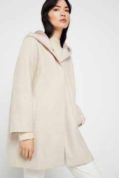 Cortefiel Hooded cape coat Ecru