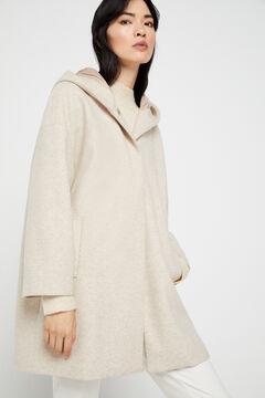 Cortefiel Abrigo capa capucha Beige