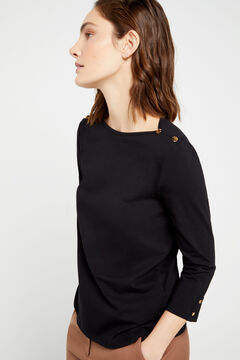 Cortefiel Essential organic cotton boat neck t-shirt Black