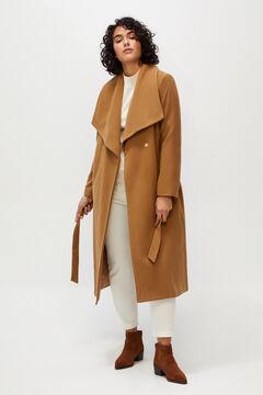 Cortefiel Long lapel coat Camel