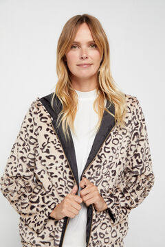 Cortefiel Reversible faux fur jacket Ecru