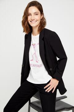 Cortefiel Organic cotton Pink Panther print t-shirt White