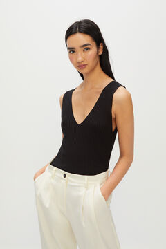 Cortefiel Ribbed strappy top Black