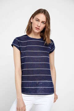 Cortefiel Striped linen effect t-shirt Navy