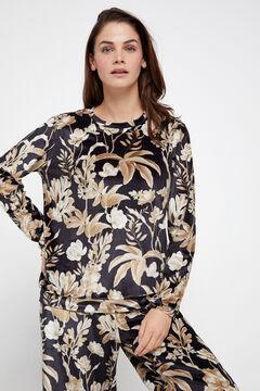 Cortefiel Printed velvet sweatshirt Black
