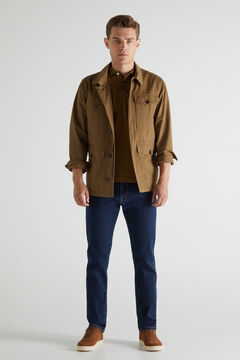 Cortefiel Slim fit extra soft light wash jeans Royal blue