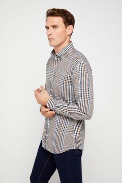 Cortefiel Camisa xadrez twill Marrom