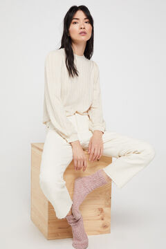 Cortefiel Jersey-knit textured top Ecru