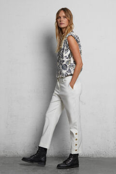 Cortefiel Trousers with buttons on the hem Ecru