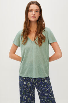 Cortefiel Lace linen-effect T-shirt Green