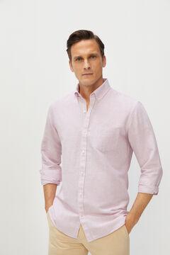 Cortefiel Striped cotton and linen shirt Plum