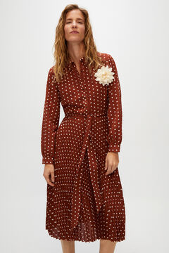 Cortefiel Tie neck polka-dot dress Beige
