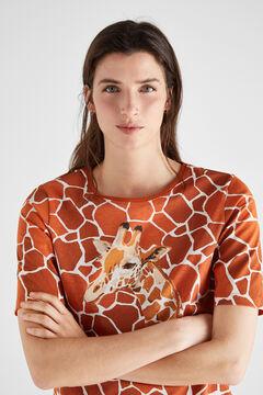 Cortefiel Camiseta algodón orgánico estampada Beige