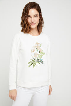 Cortefiel Sudadera bordado floral algodón orgánico Marrón