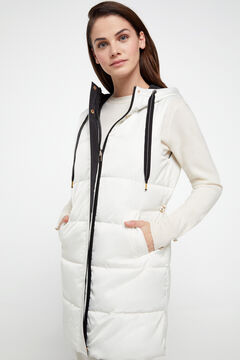 Cortefiel Long reversible quilted gilet Ecru