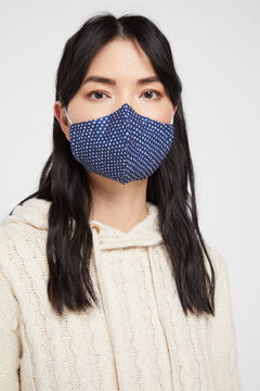 Cortefiel Navy polka-dot face mask Blue