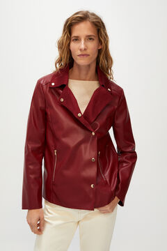 Cortefiel Faux leather biker jacket Orange