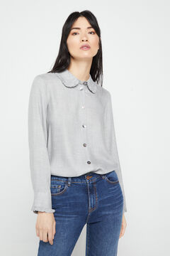 Cortefiel Grey long-sleeved flannel shirt Gray