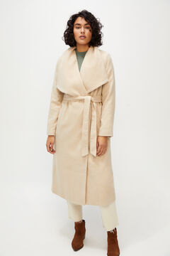 Cortefiel Long lapel coat Ecru