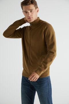 Cortefiel Cotton zipped cardigan with high neck Vanilla