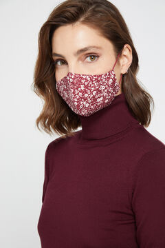 Cortefiel Two-tone floral print face mask Red