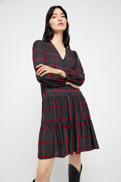 Cortefiel Checked shirt dress Gray